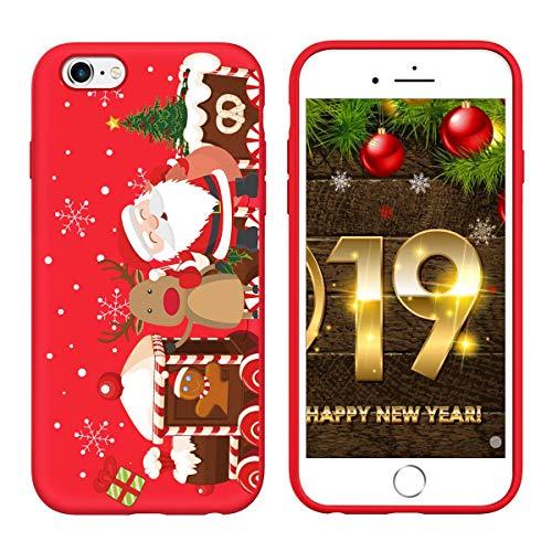 Yoedge Cover iPhone 6s / 6, Sottile Antiurto Custodia Rosso Silicone TPU con Disegni Pattern Ultra Slim 360 Protective Bumper Case per iPhone 6s / 6, Albero di Natale