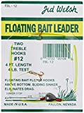 Jed Welsh Fishing 4 Pack Floating Bait Leader Size 12 & 14 Hooks Rigs with (2) #12#14 Hooks, Pre-Tied Ready to Fish-4 Pack, Clear
