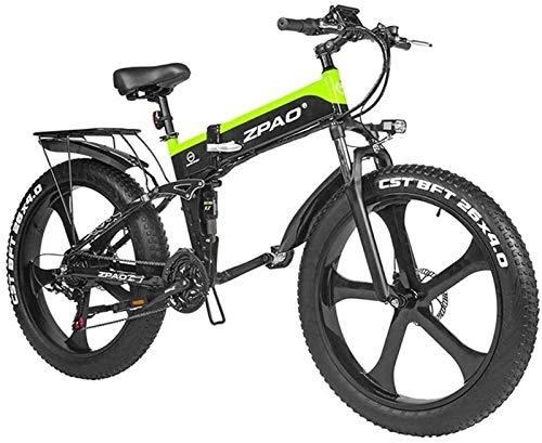 Bicicleta eléctrica de nieve, Bicicleta de montaña bicicleta eléctrica de 48V 1000W plegable de 26 pulgadas con Fat Tire Pedal E-bici de asistencia hidráulica del freno de disco Batería de litio Playa