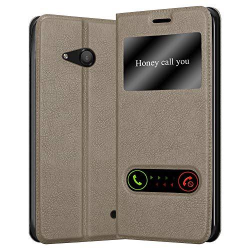 Cadorabo Custodia Libro per Nokia Lumia 550 in BRUNO PIETRA - con Funzione Stand e Chiusura Magnetica - Portafoglio Cover Case Wallet Book Etui Protezione