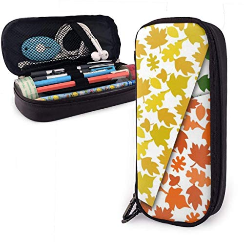 Red Yellow Leaf PU Leather Pouch Storage Bags Portable Student Pencil Office Stationery Bag Zipper Wallets Makeup Multi-function Bag