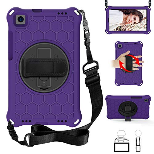 QYiD Kids Case for Galaxy Tab A 10.1 2019 (SM-T510/T515), Kids Friendly Light Weight Non-Toxic Shockproof Case Rotatable Strap, Shoulder Belt for 10.1 Inch Galaxy Tab A SM-T510 SM-T515, Purple/Black