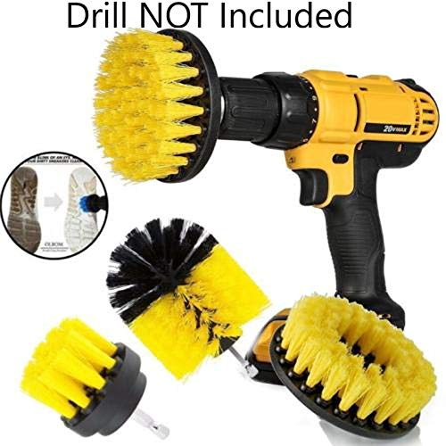 Drill Brush Attachment Set - Bathtub, Floor, Toilet, Kitchen, Tub, Shower, Tile, Grout Stain Remover - Automotive All Purpose Power Scrubber Cleaning Kit