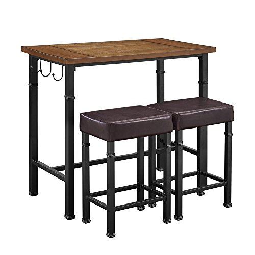 Linon AMZN0236 Declan Three Piece Pub Set, Black