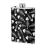 Miedhki Flask by Home Aggressive 8 Ounce Stainless Steel Hip Flask for Liquor Alcohol Wine or Bourbon Slim Curved,Fish Bone Pattern