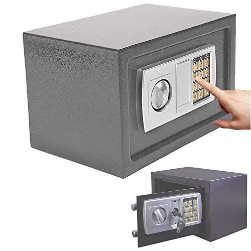 Elektronischer Safe 31x20x20cm Tresor, Feuerfest und Wasserdicht Digitaler Elektronische Safe mit PIN-Code und Schlüssel Doppel Stahlbolzen Wandsafe Schranktresor Möbeltresor Geldsafe (Grau)