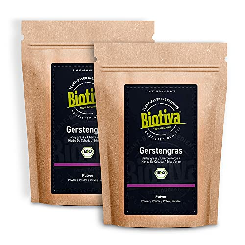 Gerstengras Pulver Bio 1000g (2x500g) - Junges, feines Gerstengras-Pulver - aus Deutschland - Bio zertifiziert (DE-ÖKO-005) - feinster Geschmack