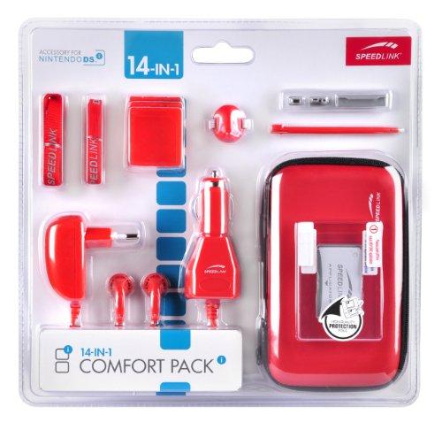 Speedlink Zubehör für Nintendo Handheld (Tasche/Kopfhörer/Ladekabel Steckdose und KFZ/Touchpen/Spielhülle/Mikrofasertuch/Trageriemen) rot