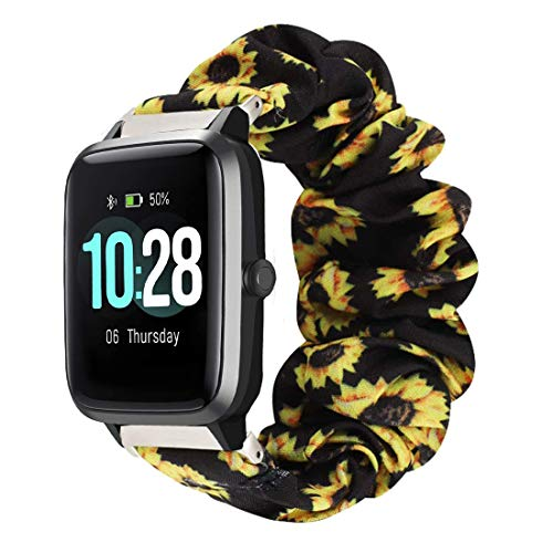 For ID205 Bands, Blueshaw (23mm) Fabric Elastic Scrunchie Elastic Watch Band Women Cute Replacement Straps Compatible for YAMAY SW020 ID205 Smart Watch (Sunflower Yellow)