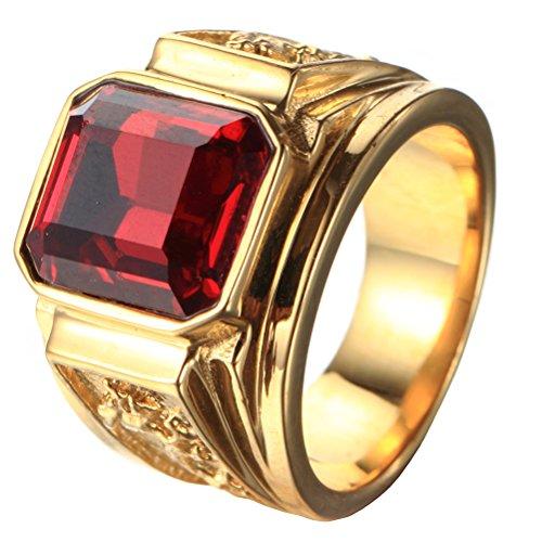 PAURO Herren Edelstahl Quadrat Rot Edelstein Stein Ring Mit Drachen Auf Seiten Vergoldet Größe 54
