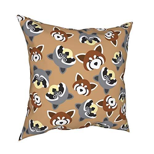 iksrgfvb Throw Pillow Case Fundas de cojín Mapache y Panda Rojo Fondo de patrón de Cara Fundas de Almohada cuadradas para Sala de Estar Sofá 18 x 18 Pulgadas