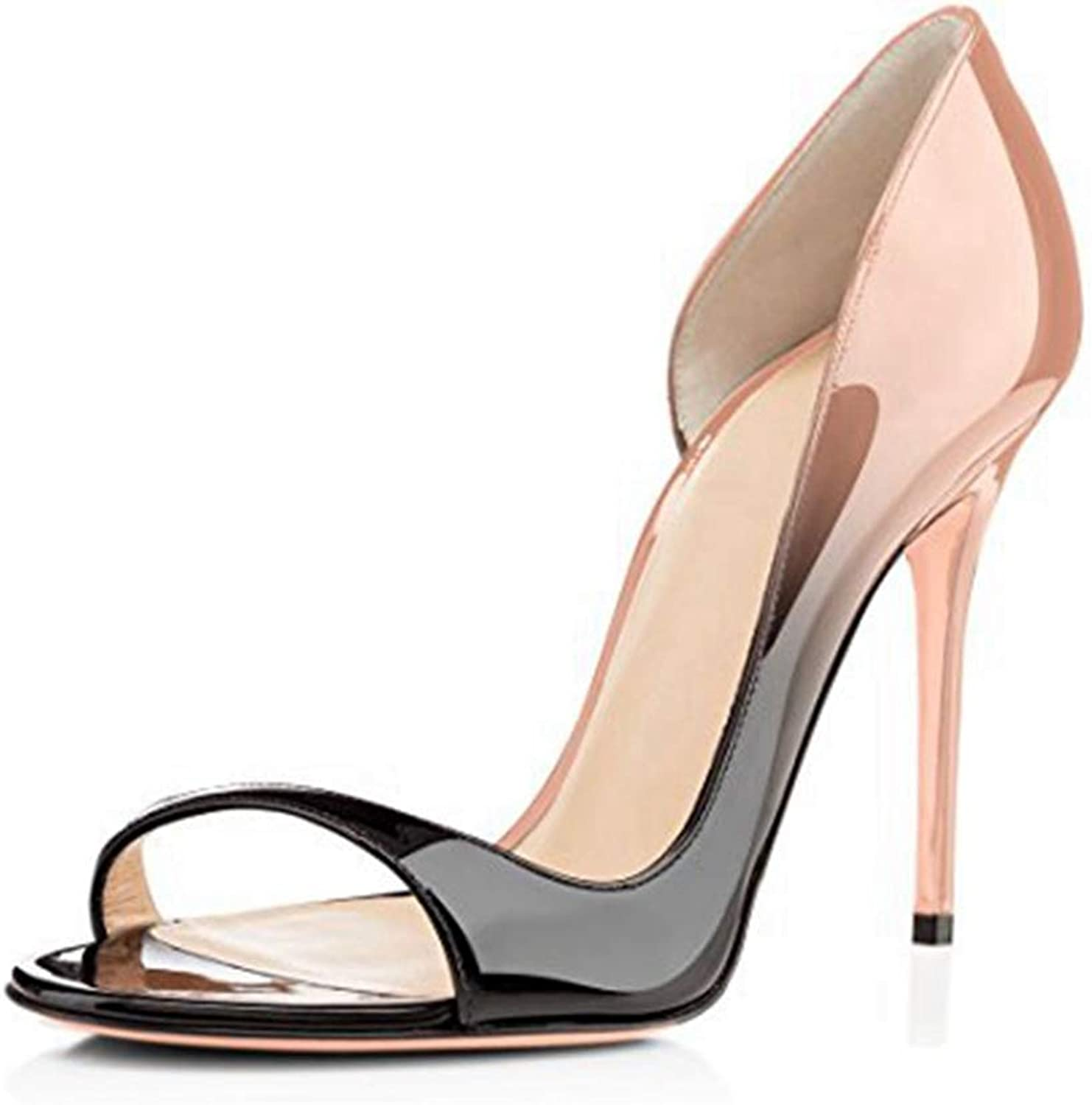 Elegant Sandal for Women Slip-on Black Nude shoes Ladies Patent Leather Heeled Sandals