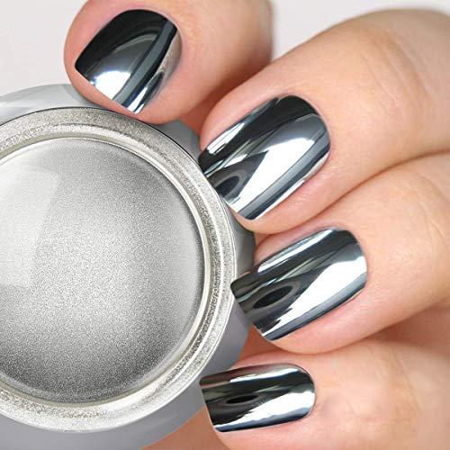 PrettyDiva Silver Chrome Nail Powder - Rose Gold Effect Mirror Nail Powders Pure Metallic Chrome Powder Manicure Pigments for Nail Art