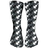 Calcetines de algodón con estampado de violonchelo en blanco y negro para hombres/mujeres de 11.8 pulgadas