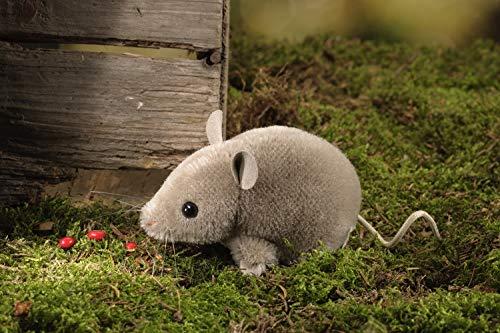 Kösener Maus 7430 grau braun liegend 10 cm Mohair Stofftier Kuscheltier Plüschtier Baby Kind Alcantara