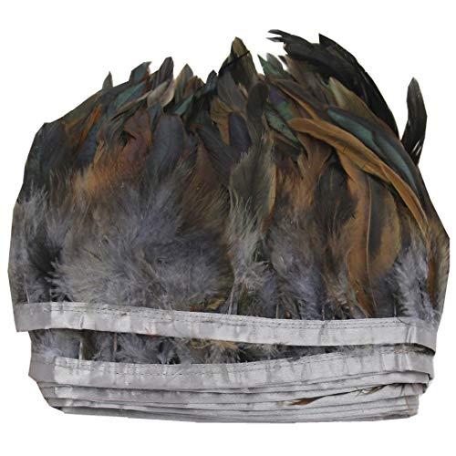 ERGEOB® Echte Hahnenfedern auf 200cm Stoffstreifen in Grau - 13 Farbvarianten - Ideal für Fasching, Karneval, Halloween, Basteln, Bekleidung, Kostüme.