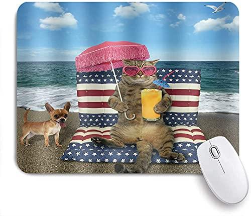 Gaming Mouse Pads, Gafas de gato divertido Gafas de sol Océano Playa Holiday Jugo de naranja Sombrilla Roja Animal Mar, Base de goma antideslizante Materias de ratón para portátil, computadora, hogar,