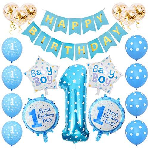 Globos Cumpleaños Niño, 1er Cumpleaños Bebe Azul Globos Numeros 1 Decoracion, Globos de Confeti de Latex Boy Ballon Party Cumpleaños 1 Año