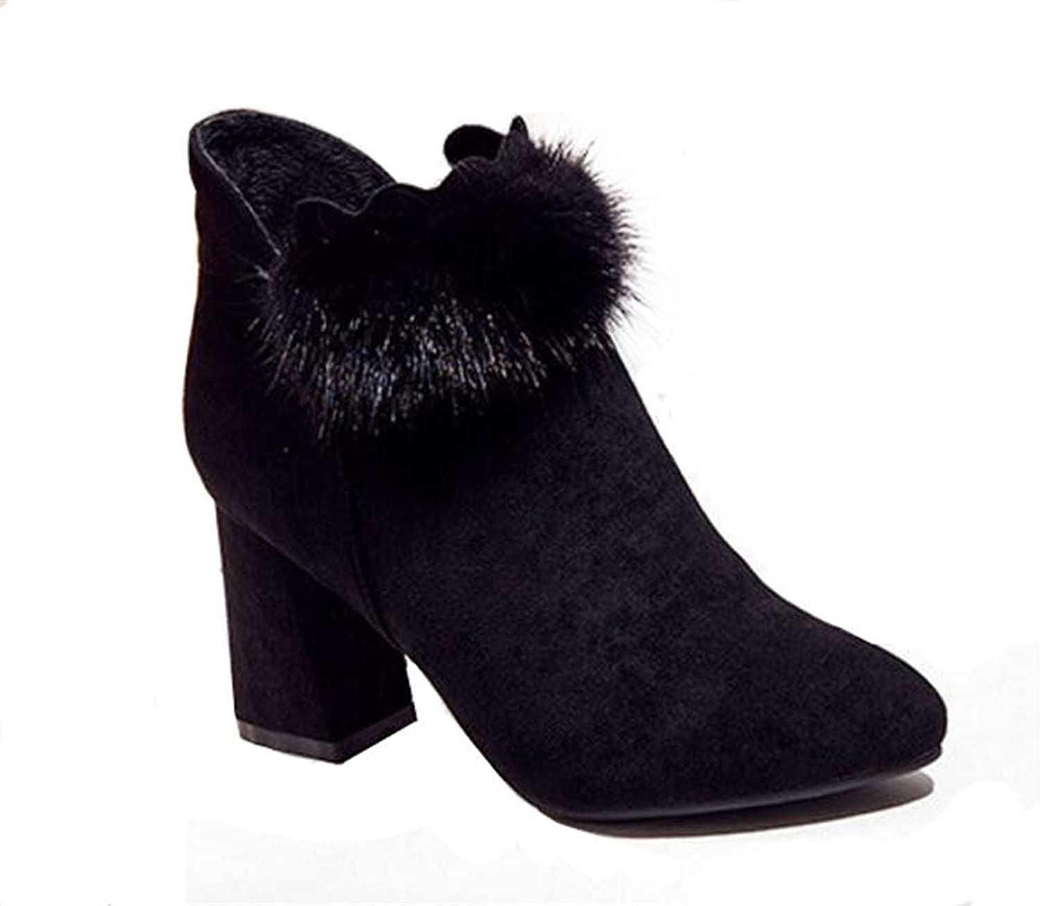 Women's shoes Faux Suede Lace-up Platfrom Ankle Chunky Heel Booties
