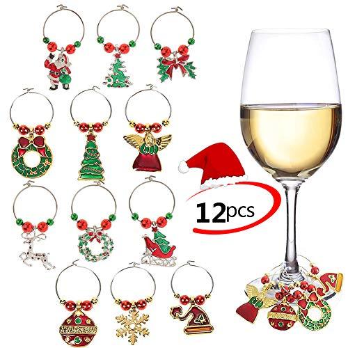 Phogary 12pcs Charms di Vetro di Vino Anelli Marker Christmas Party Bar Decorazioni da Tavola