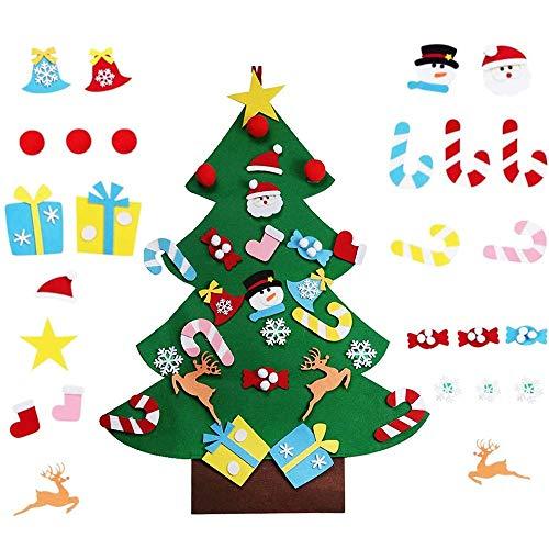 Ikruidy Albero di Natale in Feltro Fai da Te 26 PCS Feltro Albero Natale 3 ft Albero di Natale per Bambini in Feltro per Bambini Natale Regali Home Porta Parete Decorazione