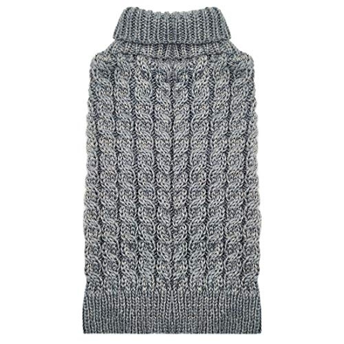 KYEESE Dog Sweater for Medium Dogs with Golden Thread Turtleneck Dog Sweater Cable Knit for Cold Weather