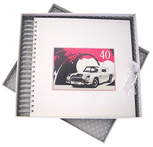 White Cotton Cards Carte d'anniversaire 40 Ans, & mémoire Livre, Voiture Classique, Blanc