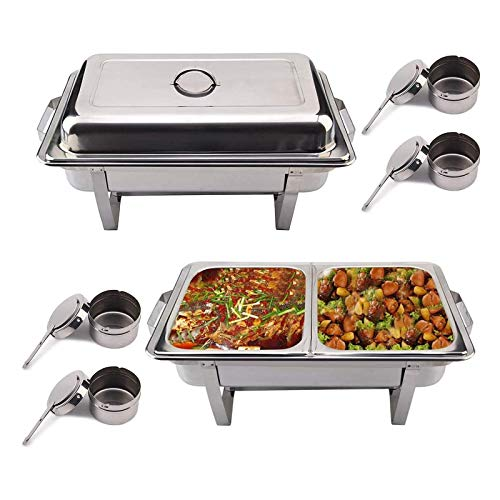 ZXLYA Stainless Steel Chafing Dish 2-Piece Set, Rectangle Chafing Dish Set Chafing Dishes Set for Catering Buffet Warmer with Folding Frame, for Buffet Party