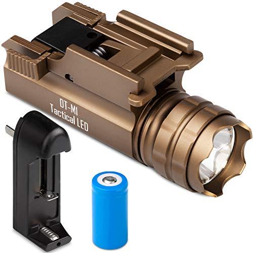 Gun Flashlight Rechargeable Tactical LED Rail Mounted DTM1 by DEFENDTEK 300 Lumens TAN Fits Glock Taurus Ruger Springfield HampK SampW