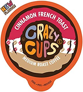 Crazy Cups Flavored Coffee for Keurig K-Cup Machines, Cinnamon French Toast, Hot or Iced Drinks, 22 Single Serve, Recyclable Pods