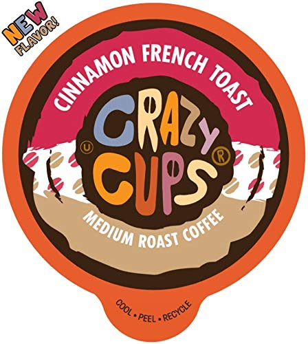 Crazy Cups Flavored Coffee Pods for Single Serve Keurig K Cups Machines, Cinnamon French Toast, Hot or Iced Coffee, Recyclable Pods, 22 count