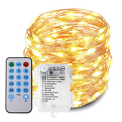Luz de hadas LED, 100 luces LED de 10 m para interiores y exteriores, cadena de luces para dormitorio, patio, patio, cenador, fiesta, boda