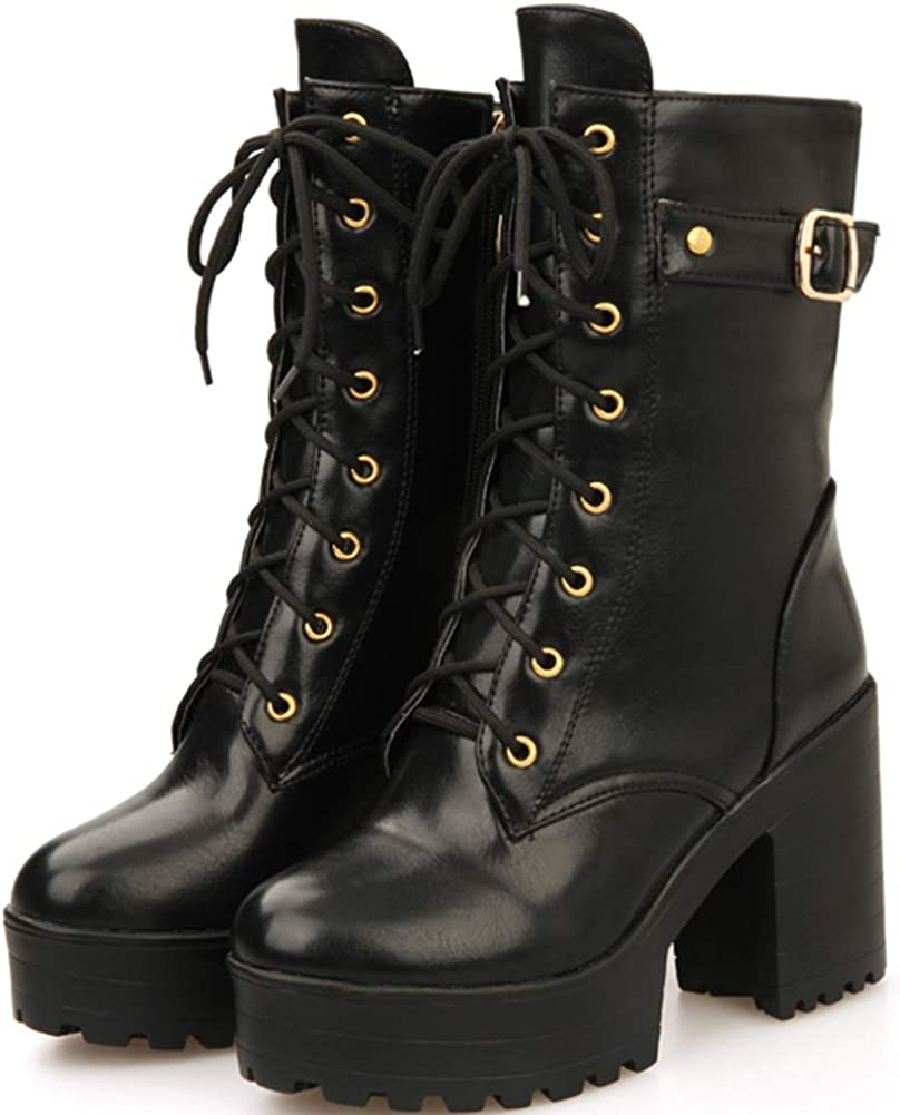 SaraIris Womens Fashion Chunky Heel Platform Military Combat Ankle Boots Waterproof Lace up Double Buckle Mid Calf Boots with Zip