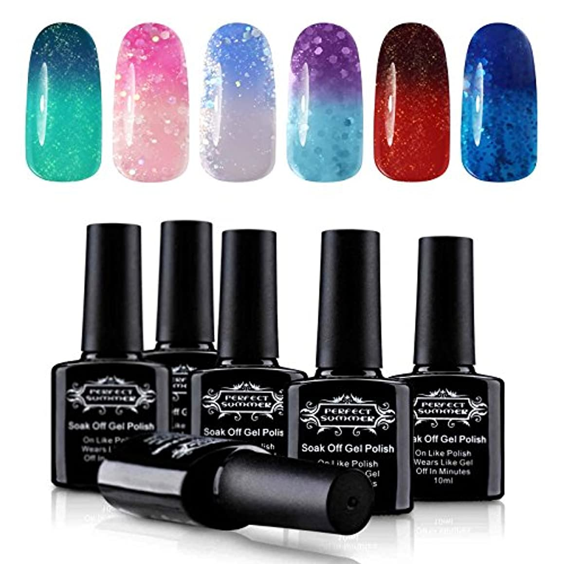 Perfect Summer Soak Off Gel Polish - Temperature Changing Color Nail Gel Polish UV LED Manicure, Pack of 6PCS, 10ml Each #03