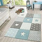 TT Home Alfombra Infantil Juego Cuadros Puntos Estrellas Corazones Pastel Azul Y Gris, Größe:120x170 cm