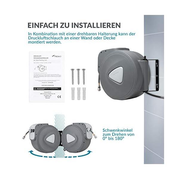TRESKO® Carrete de Manguera de Aire Comprimido de 10 m   Conector de 1/4″   Enrollador de Manguera Automático   con Soporte para Pared   Rotación de 180°   Tope Final Ajustable