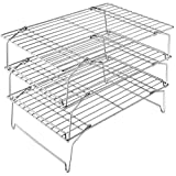 3-Tier Cooling Rack Set, P&P CHEF Stackable Stainless Steel Baking Cooling Roasting Cooking Racks for Cake, Pastry, Bread, Meat, Bacon, Collapsible & Thick wire, Oven & Dishwasher Safe - 15x10