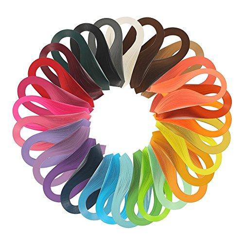 Quilling-Papier-Set, Papierstreifen, 3600 Streifen, 30 Farben, 39 cm Länge/Streifen (Papierbreite 3 mm)