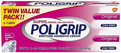Super Poligrip Original Formula Zinc Free Denture Adhesive Cream, 2.4 ounce Twinpack (4.8 ounce total)