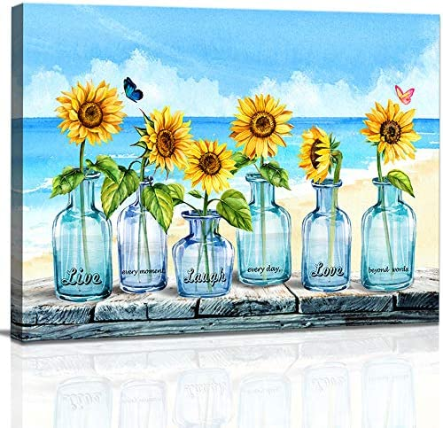 Inspirational Wall Art for Bathroom Bedroom Decor Canvas Wall Art Watercolor Sunflowers in Blue product image