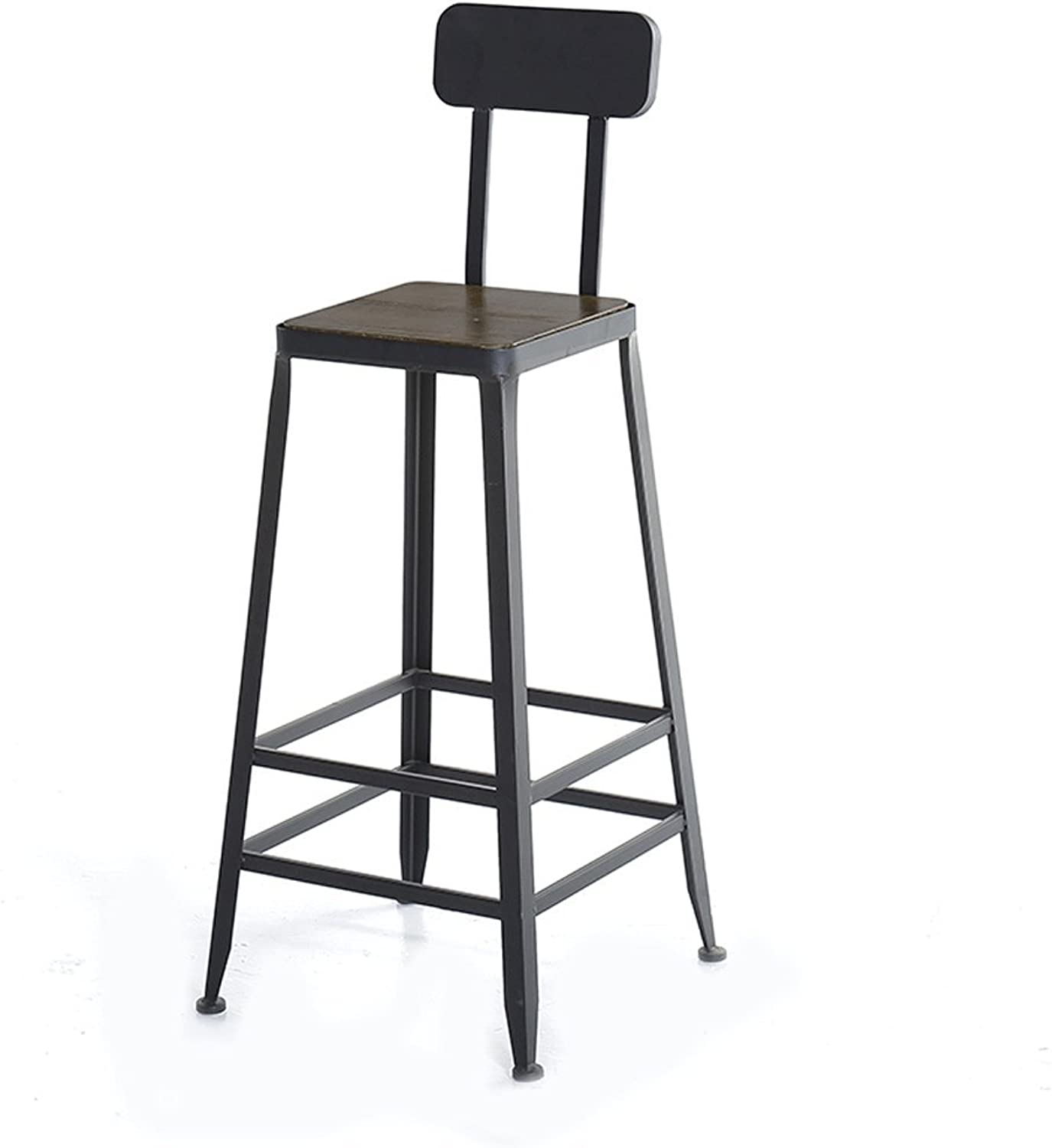 Barstool Bar Stool with Backrest Stool Iron Solid Wood Stool Cafe Stool High Stool Modern Minimalist Stool (color   Square, Size   Upholstered)