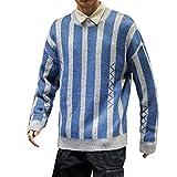 SuperSU-Sweatshirt Herren Herbstmode Casual Warmer Langarm Stricken Pullover Elegant Striped Print Sweatshirt Männer Bequeme Locker Übergröße Oberteil Street Style Tops M-5XL