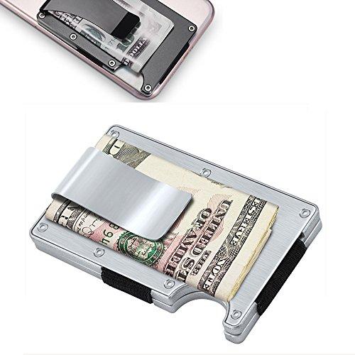 ZOSEN Metall Brieftasche Kreditkarteninhaber mit RFID-Blockierung, Aluminium Geldklammer Geldbörse (Silber)