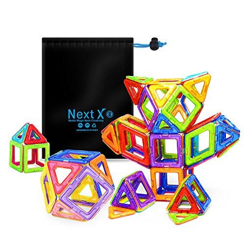 NextX Magnetische Bausteine Magnetspiel Set Pädagogische Bauklötze Spielzeug Geschenk für Kinder (64-Stück)