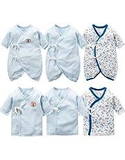 新生児肌着 6枚組 赤ちゃん コンビ肌着 短肌着 綿100% ベビー服 長袖ロンパース カバーオール ロンパース 前開きタイプ 肌着パジャマ 可愛いプリント 通年素材 ブルー