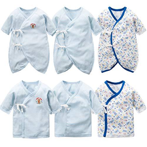 新生児肌着 6枚組 赤ちゃん コンビ肌着 短肌着 綿100% ベビー服 長袖ロンパース カバーオール ロンパース ...