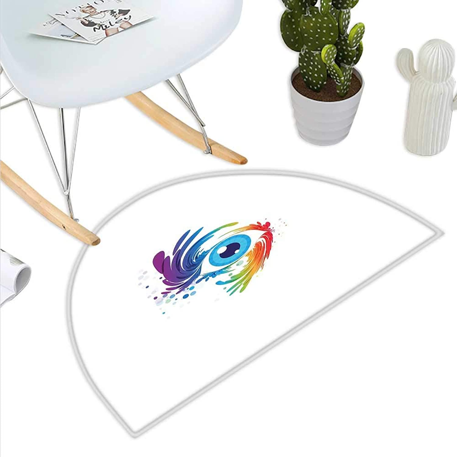 Eyelash Semicircle Doormat Abstract colorful Eye with Artistic Lively color Splashes Swirls Fantasy Creativity Halfmoon doormats H 43.3  xD 64.9  Multicolor