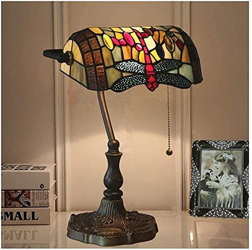 Lámpara de cabecera de vidrio manchado E27 Art Deco Lámpara de mesa vintage Lámpara de cabecera de lujo para biblioteca Cómoda Sala de estar Dormitorio Hotel