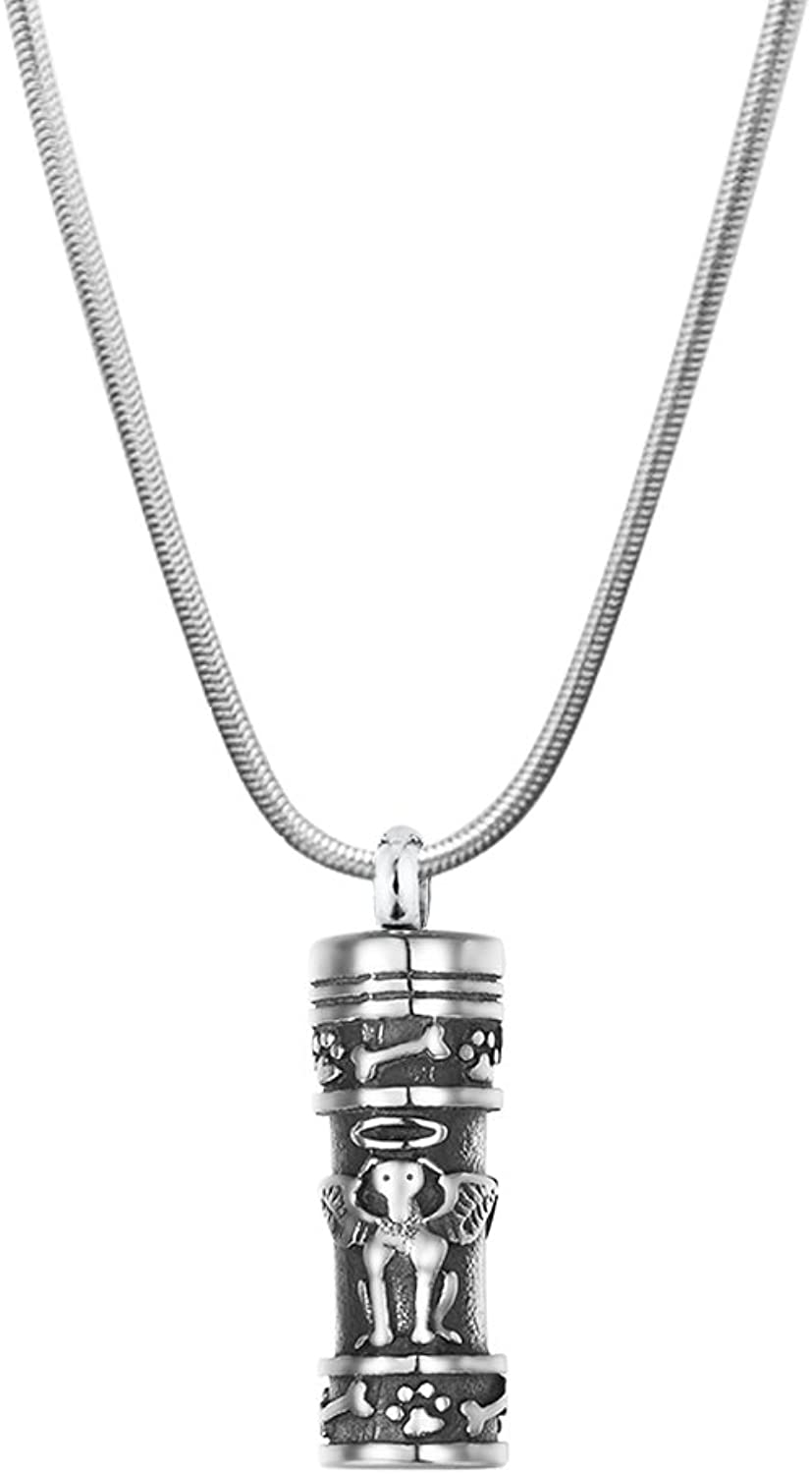 Anavia Pets Dog Bone Round Paw Print Tear Drop Cylinder Charm Cremation Keepsake Memorial Surgical Stainless Steel 316L Pendant Necklace (Dog Guardian Angel Cylinder)