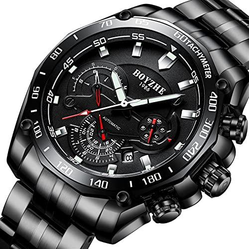 JTTM Reloj De Pulsera Mecánico Automático Completo De Acero Fino Reloj De Noche Impermeable Moda Deportes Diseño Hombres,Negro